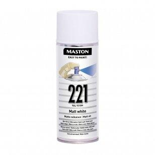 Aerozoliniai dažai MASTON 100, Balta matinė 221, RAL9010M